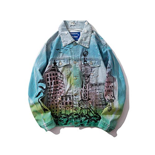 XIELH Otoño Hombre Streetwear Graffiti Agujeros Pintados Jeans Sueltos Chaquetas Hip Hop Algodón Ripped Motocicleta Chaqueta De Mezclilla, Azul, XL