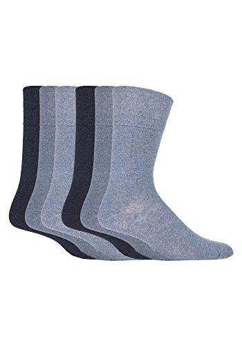 6 Paar Herren Weicher Bund Nein Socken Elastisch Einfach Blues MGG102 - 39-45 eur