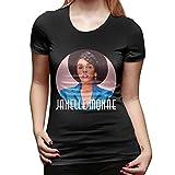 Janelle Monae T-Shirt Woman Short Sleeve Novelty Round Neck T Shirts Black