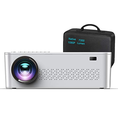 """Native 1080p Projector,7300 Lumens Projector for Outdoor Movies with 400""""Display,Support 4K Dolby & Zoom,100000 hrs Life,Indoor & Outdoor Projector Compatible with TV Stick,HDMI,VGA.USB,Smartphone,PC"""