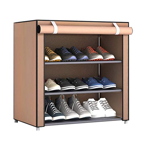 Olddreaming - Estante organizador de zapatos de tela no tejida de gran tamaño a prueba de polvo para el hogar, dormitorio, dormitorio, zapatero (varios tipos y colores) (café, 4 capas de 3 celosía)