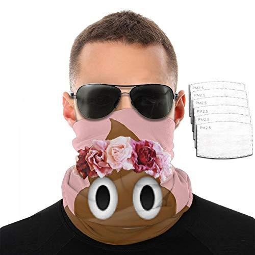 Flower Crown Poop Emoji Hipster Tumblr Unisex Face Cover Bandanas Balaclava with 6 Filter