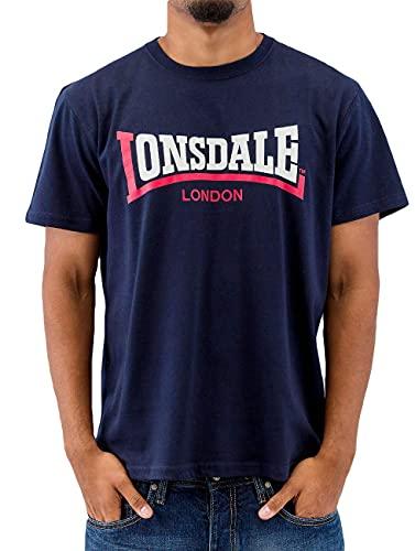 Lonsdale Two Tone T-Shirt, Uomo, Blu Navy, Medium