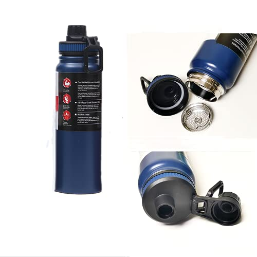 ChenYu 800ml Borraccia Termica, Borraccia Acciaio Inox Senza BPA, Bottiglia Acqua Isolamento Sottovuoto per Sport, Scuole, Palestra, Bicicletta,Prova Perdite Anche per Acido Carbonico (Blu)