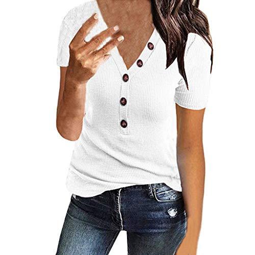 Damen T-Shirt Cramberdy Sommer Slim Fit Kurzarm V-Ausschnitt Oberteile Bluse Tops mit Knopf Damen T-Shirt Top Kurzarm Sommer Shirt Bluse Lässige Oberteil Bluse Shirt Causal Oberteil