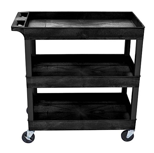 Luxor Mobile 32' x 18' Multipurpose Utility Supply Tub Cart with Ergonomic Handle and 3 Shelves, Black - 2 Pack