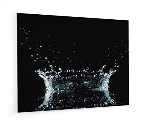 """Impression Murale® - Fond de hotte, crédence de cuisine en Verre de synthèse avec fixation adhésive""""Eclaboussure flaque d'eau sur fond noir"""" L. 90 x H"""