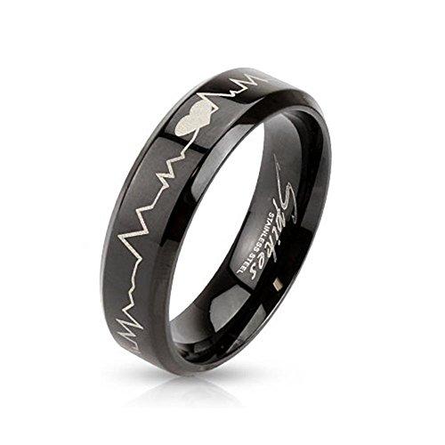 Paula & Fritz, anello in acciaio inox chirurgico 316L, largo 6mm, nero, con incisione laser, motivo battito cardiaco, acciaio inossidabile, 20,25, colore: multicoloured, cod. R-M3111_90