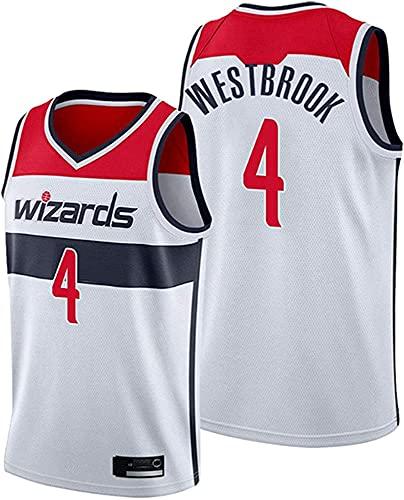WHYYT Camisetas de Baloncesto para Hombres - NBA Washington Wizards # 4 Russell Westbrook Jersey, cómoda Camionero de Malla Bordada Transpirable,M(170~175CM/65~75KG)