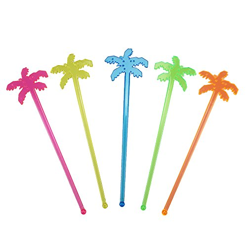 7 Inch Plastic Cocktail Ice Drink Swizzle Sticks Tropical Palm Tree Set of 50 by GOCROWN