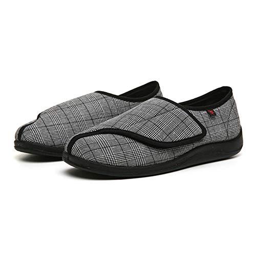 Diabetische wandelschoenen voor heren Ademende sportschoenen, verstelbare brede klittenbandschoenen met brede voet, verbreding van de vervormingsverpleegkunde-zwarte schoenen, Diabetische pantoffel