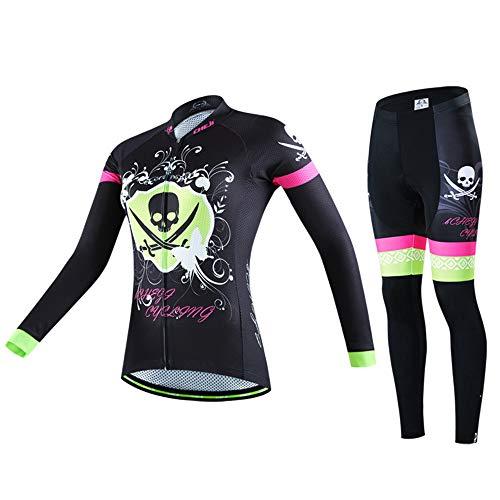 JTRHD Atmungsaktives Fahrradtrikot Frauen-Bike Bekleidung Set Outdoor Sports Bike Wear Jersey-Hosen Sommerkleidung (Farbe : Black, Size : XL)