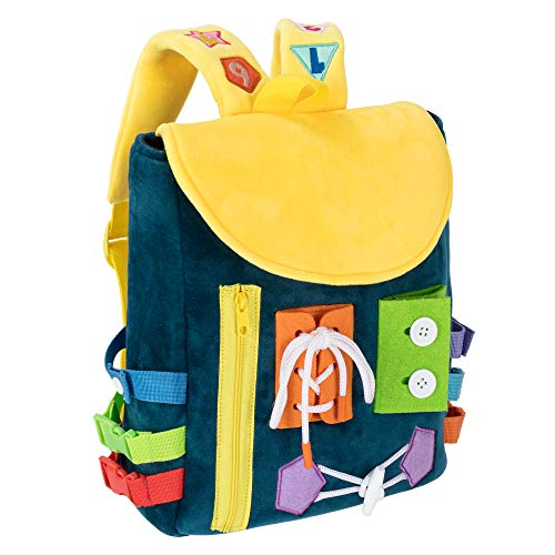 Busy Board - Toddler Backpack with Buckles and Learning Activity Toys - Develop Fine Motor Skills and Basic Life Skills - Learn to Tie Shoes - Children's Travel Toy - Ideal Gift for 12 months+