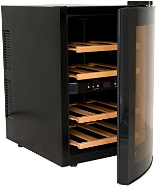 H.Koenig AGE12WV Weinkühlschrank   12 Flaschen   2 Temperaturzonen, Temperatur von 8°C bis 18°C   LED-Temperaturanzeige   Holzlagerbden