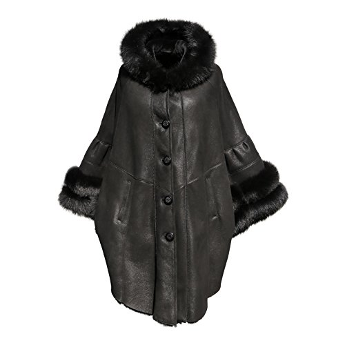 Hollert German Leather Fashion Lammfellmantel - Poncho Damen Mantel schwarz Merino Echtleder Größe L