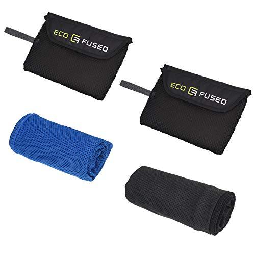 Eco-Fused Koel Handdoek - 2-pack (blauw / zwart) - Absorberende compacte koelhanddoek voor binnen- en buitenactiviteiten - Gymnastiek, yoga, hardlopen, klimmen, vissen, tuinieren - Inclusief een gaasvak