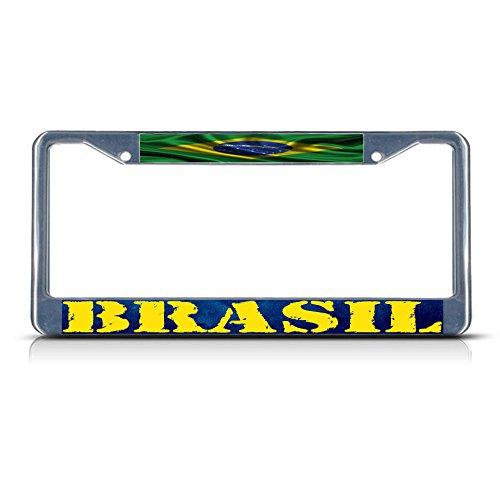 Brasilien, brasilianische gewellte Flagge Brasilien Metall Kennzeichenrahmen Rahmen Tag Bordüre Perfekt für Männer Frauen Auto Garadge Decor