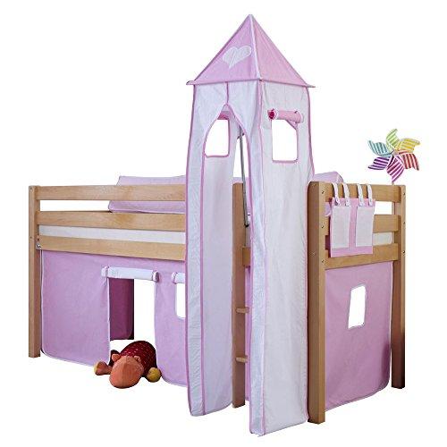 Relita Halbhohes Spielbett Alex mit Vorhang, Turm und Tasche, Buche massiv, Natur lackiert