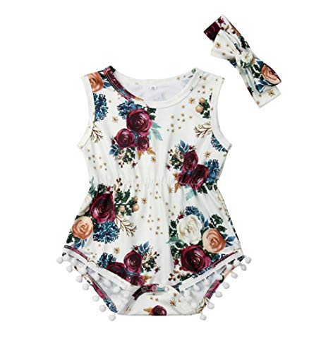 Newborn Kids Baby Girls Clothes Floral Jumpsuit Romper Playsuit Backless Ruffle Headband Sunsuit Outfits (A-white, 0-6 Months)