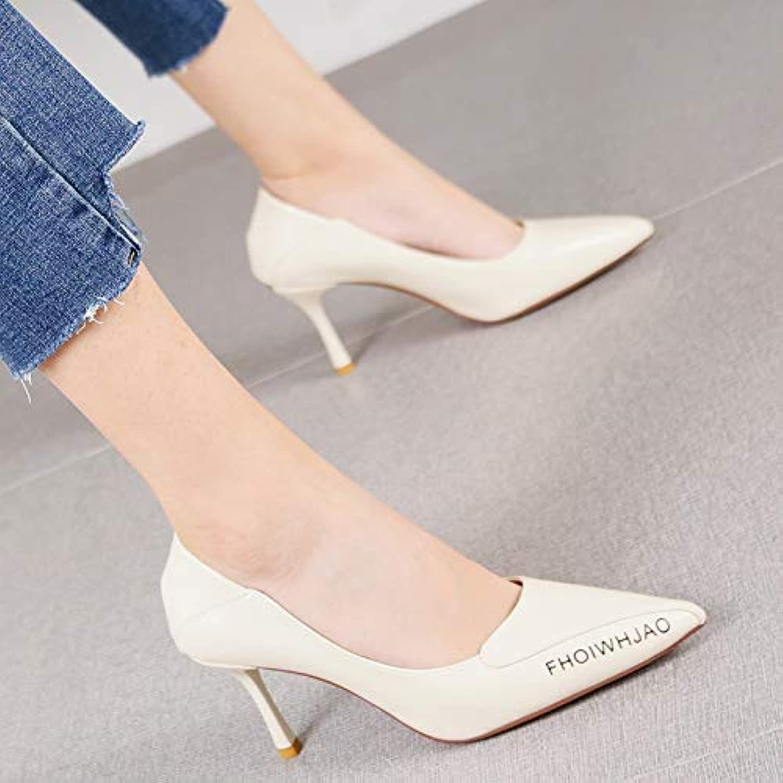 HRCxue Pumps Pumps Temperament vielseitige professionelle Schuhe Mode Buchstaben beige Stiletto Heels Frauen, 34, beige  Online-Verkauf