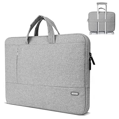 Aoke Funda para laptop de 15.6 pulgadas, impermeable, acolchada de poliéster con correa de asa para hombres, bolsa de transporte delgada para...