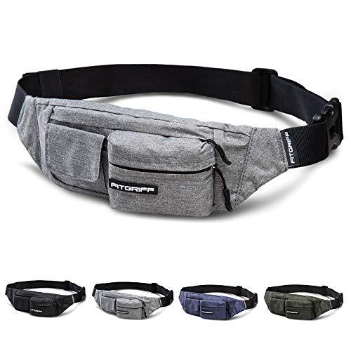 Fitgriff® Bauchtasche Slim Fit für Damen und Herren - Gürteltasche, Hüfttasche, Brusttasche, Fanny Pack - Gürtel Tasche (Grey, Large)