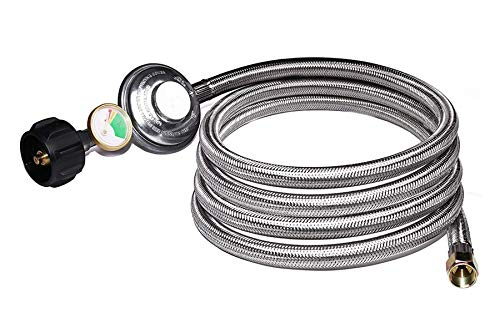 "DOZYANT 12 Feet Universal QCC1 Low Pressure Propane Regulator Hose Replacement with Propane Tank Gauge, Stainless Steel Braided Hose for Most LP Gas Grill, Heater Fire Pit Table, 3/8"" Female Flare"