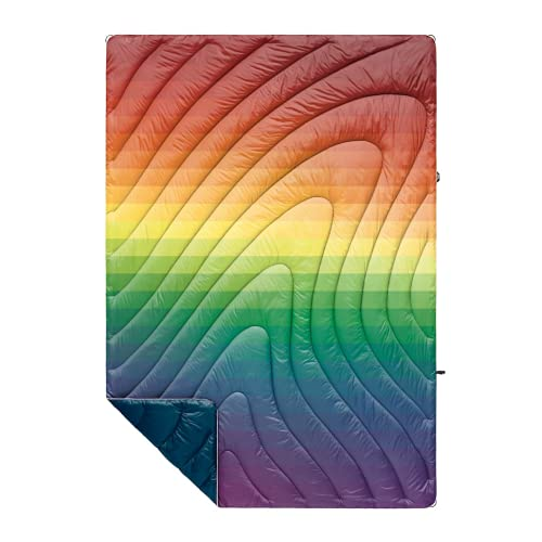Rumpl The Original Puffy | Printed Outdoor Camping Blanket for Traveling, Picnics, Beach Trips, Concerts | Rainbow Fade, 1-Person
