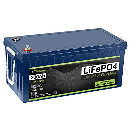 ExpertPower 12V 200Ah Lithium LiFePO4 Deep Cycle Rechargeable Battery   2500-7000 Life Cycles & 10-Year lifetime   Built-in BMS