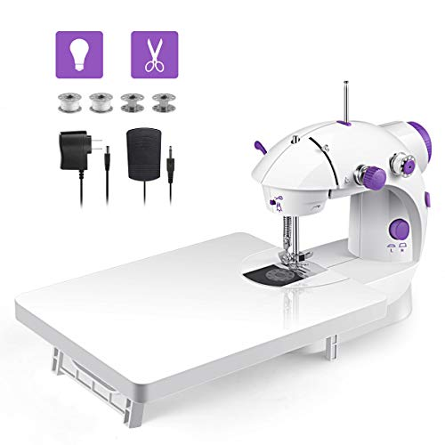 Mini sewing machine, upgraded model in 2019, portable multi-function assistant at home with Foot Pedal 4 Coils (Lea2)