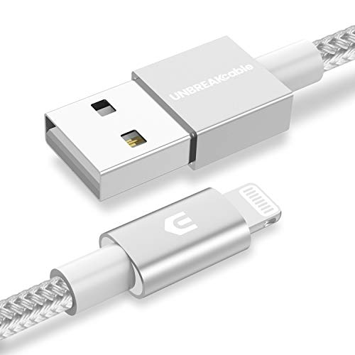 UNBREAKcable iPhone Ladekabel, Lightning Kabel - 1M [MFi-Zertifiziert] - mit Apples originalem C89-Terminal und Smart-Chip Datenkabel kompatibel mit iPhone, iPad Air, Airpods - Silber-Grau