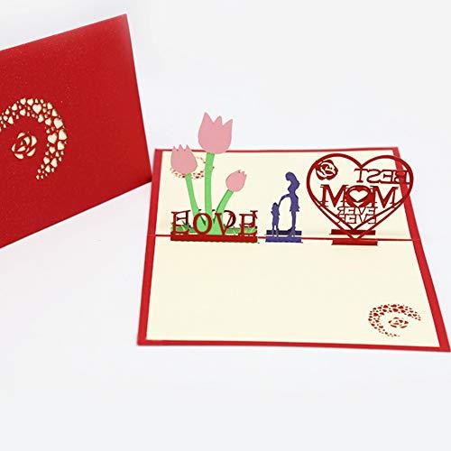 Moligin 3D-Karte Pop-up-grußkarte Ehefrau Geburtstagskarten Mutter-tageskarte Schnitzen Hohle DIY Segen-Papier-Karte