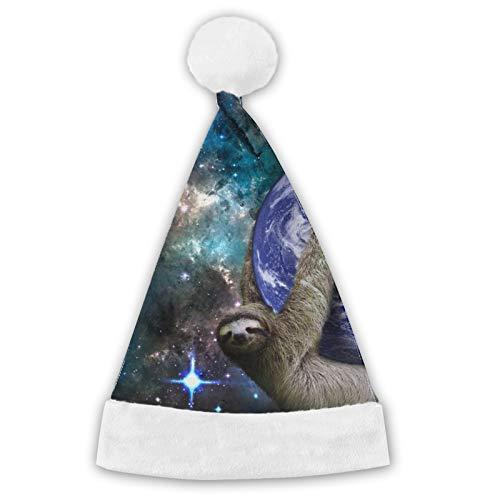 TYUO Sombrero de Pap Noel, sombrero de Navidad, perezoso espacial en la tierra, luna, galaxia, comodidad de felpa, para Navidad, Ao Nuevo, vacaciones, suministros de fiesta