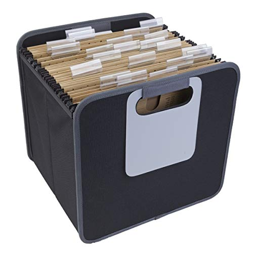 meori Lava Black Foldable Box Collapsible Office to-Go Organize Store Transport Hanging Files Documents Folder 8.5x11 Letter Paper