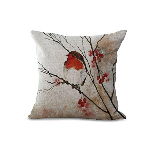 Kissenbezug aus Baumwolle und Leinen mit Blumen und Vogel-Motiven und verschiedenen Farben, 45,7x 45,7cm, toller Deko-Artikel für Sofa oder Bett, MY-A1107–01 #03