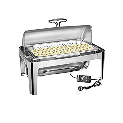 Thick stainless steel buffet stove - electric heating - all steel cover split design - hot pot warm tray Suitable for buffets, restaurants, parties, events, family banquets, etc