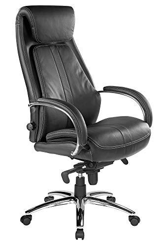 Kijng Chefsessel Throne - Schwarz Echtes Leder mit Hartbodenrollen Ergonomischer Bürostuhl Schreibtischstuhl Drehstuhl Sessel Stuhl