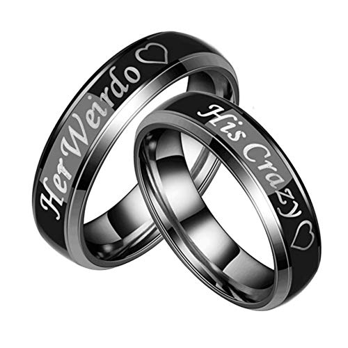 Ubestlove Titanium Wedding Rings His and Hers Engraved Her Weirdo His Crazy Heart Rings Endless Love Ring P½ N½