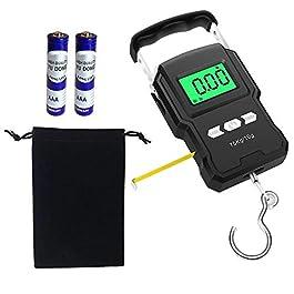 Kingrun Balance de pêche 165lb / 75kg Pèse-Bagages Suspendu, Balance pour Le Bagage avec LCD Rétroéclairé, mètre Ruban à…