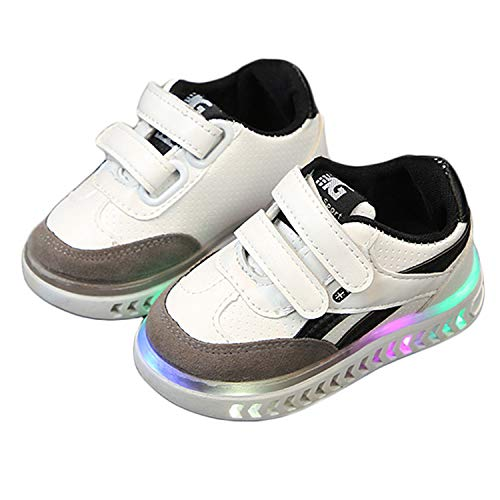 Soluo Clearance Boy Girls Light Up Shoes Kids Baby Boys Girls Toddler Sport Running LED Luminous Sneakers - White - 23