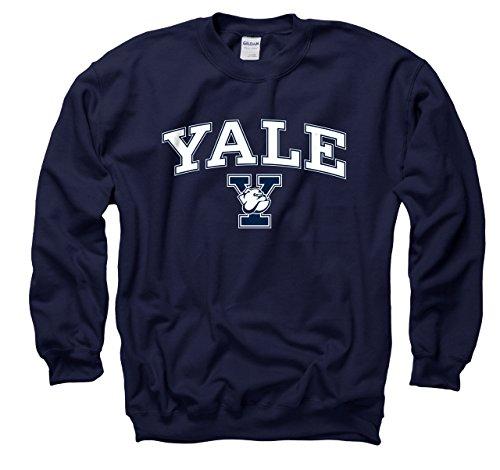 Campus Farben Yale Bulldogs Erwachsene Arch & Logo Gameday Crewneck Sweatshirt–Marineblau, Herren, Navy, Small