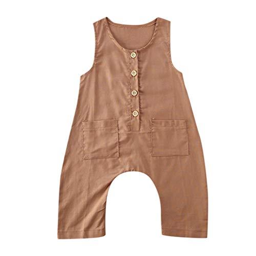 LEXUPE Neugeborene Baby Mädchen Jungen Ärmellose Feste Knopf Strampler Jumpsuit Playsuit(B-Khaki,90)