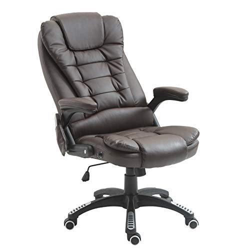 HOMCOM High Back Faux Leather Adjustable Heated Executive Massage Office Chair - Dark Brown