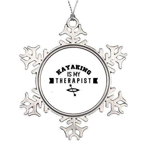 "No brands 8cm 3"" Snowflake Christmas Ornaments Kayaking is My Therapist Metal Snowflake Keepsake Christmas Tree Hanging Decoration Winter Wonderland Xmas Holiday Party"