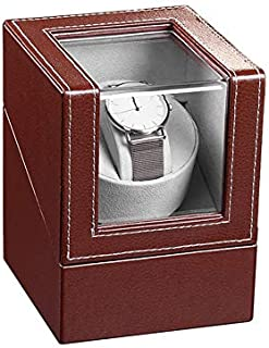 Smart Ella - Caja para relojes automáticos con motor de silencio (piel, con adaptador), color negro y marrón