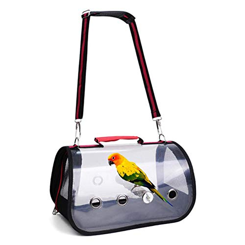 adfafw Bird Travel Cage Transparenter Vogelträger Vogelreisekäfig mit Barsch Hund Rucksackträger Transparent für Haustier Vogel