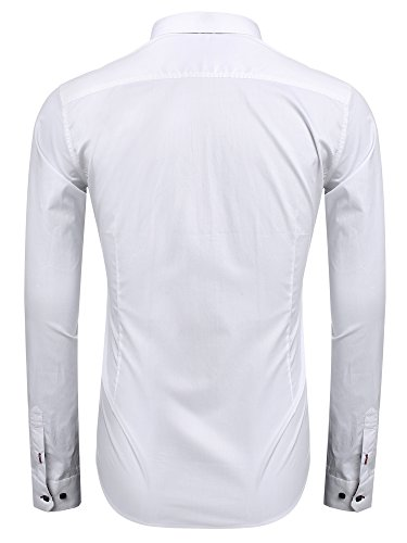 Coofandy Men's Fashion Slim Fit Dress Shirt Casual Shirt, 01-white, Small