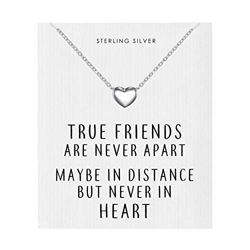 Philip Jones Sterling Silver Friendship Quote Heart Necklace