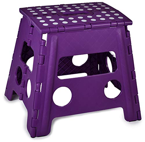Folding Step Stool 13 Inch  The AntiSkid Step Stool is Sturdy to Support Adults and Safe Enough for Kids Opens Easy with One Flip Great for Kitchen Bathroom Bedroom Kids or Adults Purple