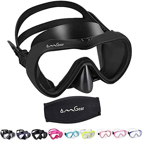 OMGear Diving Mask Snorkeling Gear Kids Adult Snorkel Mask Dive Goggles Silicone Swim Glasses Scuba Free Diving Spearfishing Anti-Leak Anti-Fog Neoprene Strap Cover Impact Resistance (Black-Adult)